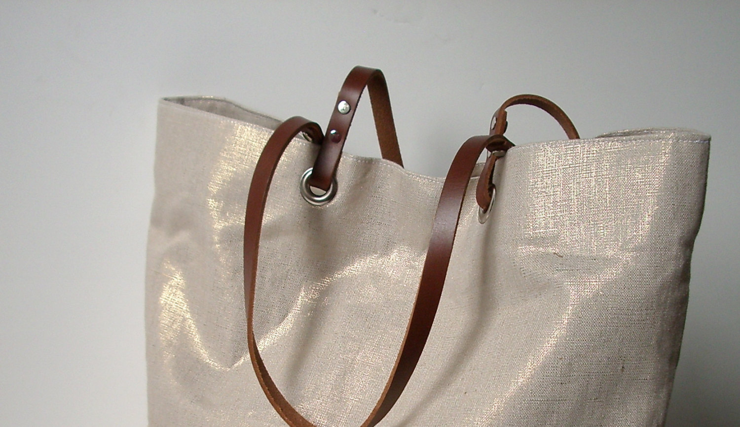 Metallic Linen Tote Bag, Beach Bag on Storenvy