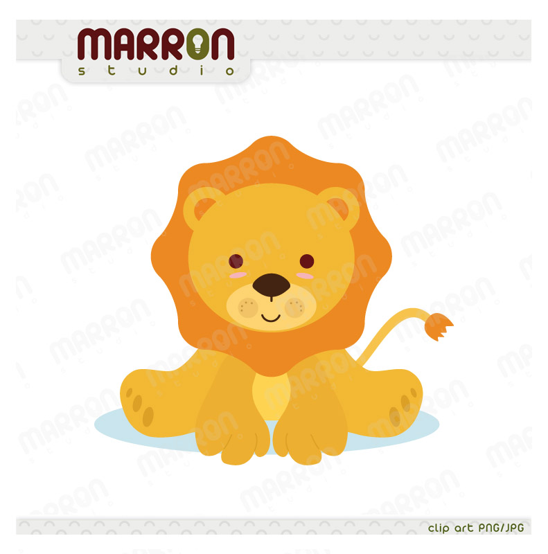 Cute Baby Lion Kawaii Style Clip Art For Birthdays Or Baby Showers