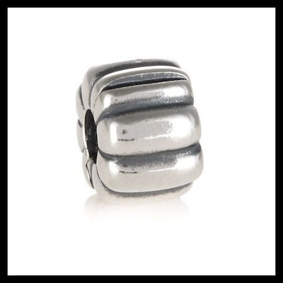 c995cdcbd Authentic pandora silver ribbed safety clip .925 sterling silver european  charm bead - item no