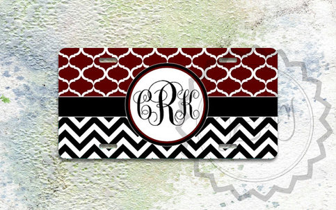 Personalized License Plate Marron Moroccan Pattern And