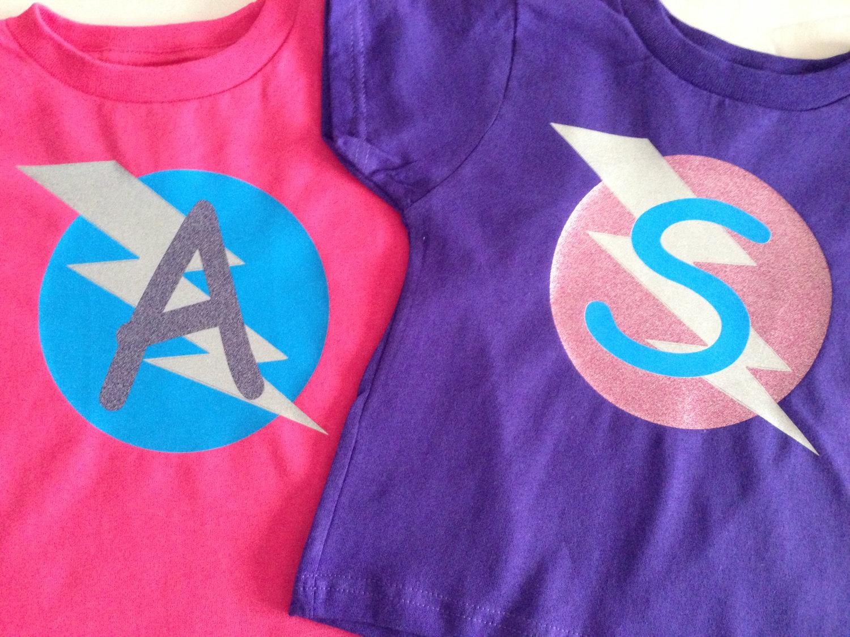 a6f60656e ... Girls Glittery Personalized Superhero T-Shirt, Custom Super Hero Shirt  with Lightening Bolt and ...