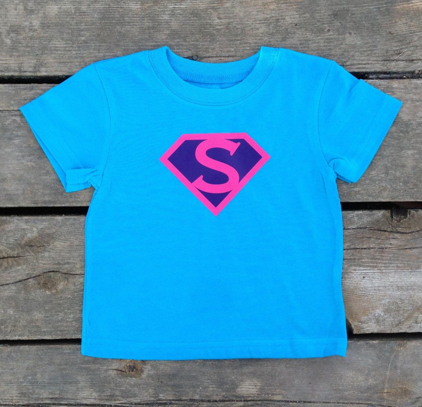 ba83211bb Girls Personalized Superhero T-Shirt, Custom Super Hero Shirt with Initial  , Girly T
