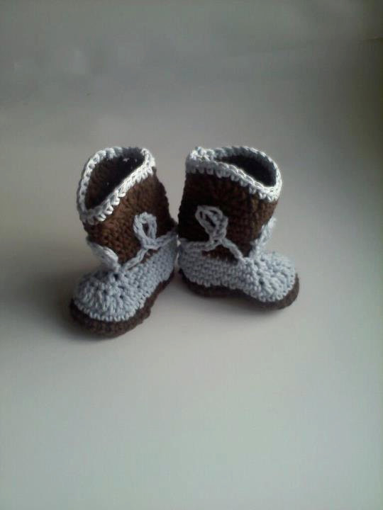 bc877bab18580 Cowboy Boot Booties for Baby Boy - Crochet in Chocolate Brown and Blue -  Newborn - 6 months from Mimisbabiesprops