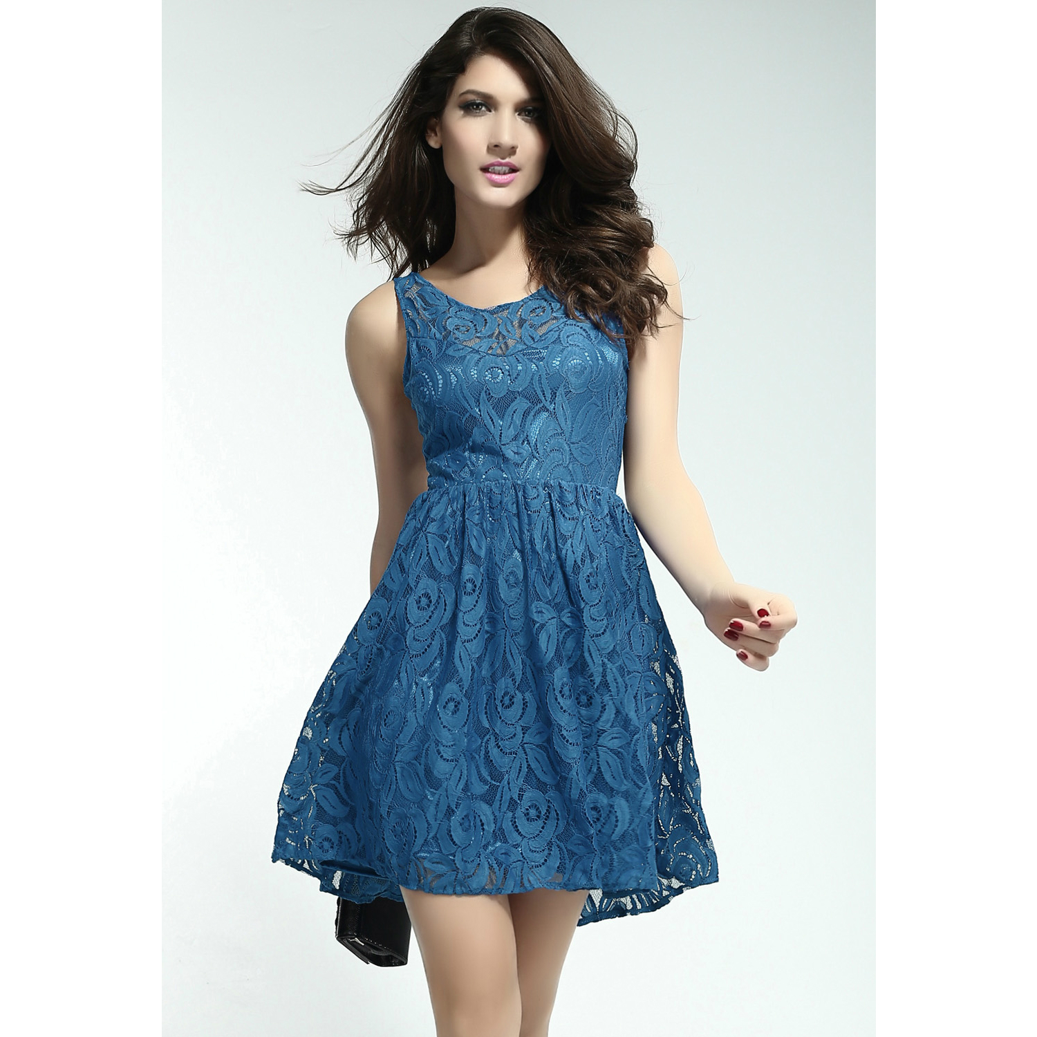 Gorgeous Blue Lace Skater Dress on Storenvy