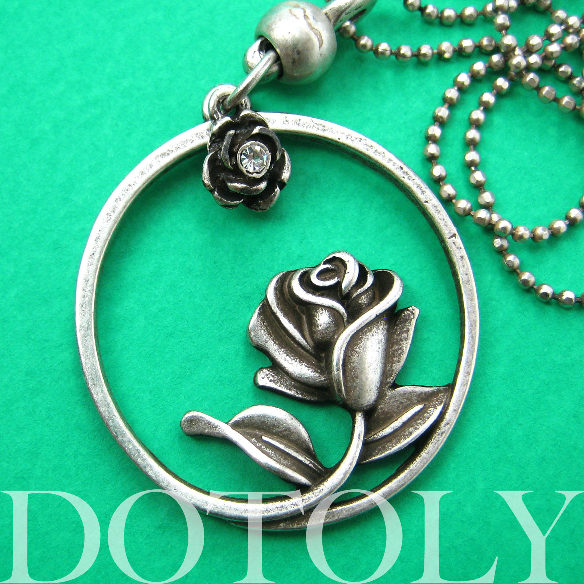 Beauty and the Beast Inspired Simple Rose Round Necklace ...