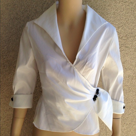 White Evening Wrap Blouse With Black Buttons On Storenvy