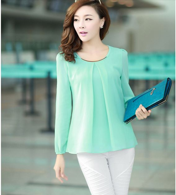 classy tops elegant fashion candy color long sleeve chiffon tops 1611