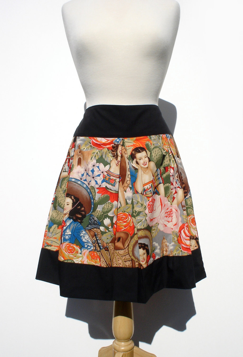 da531bcc3 ... Day of the Dead Rockabilly Mexican Skirt / Pinup Skirt - Thumbnail 3 ...
