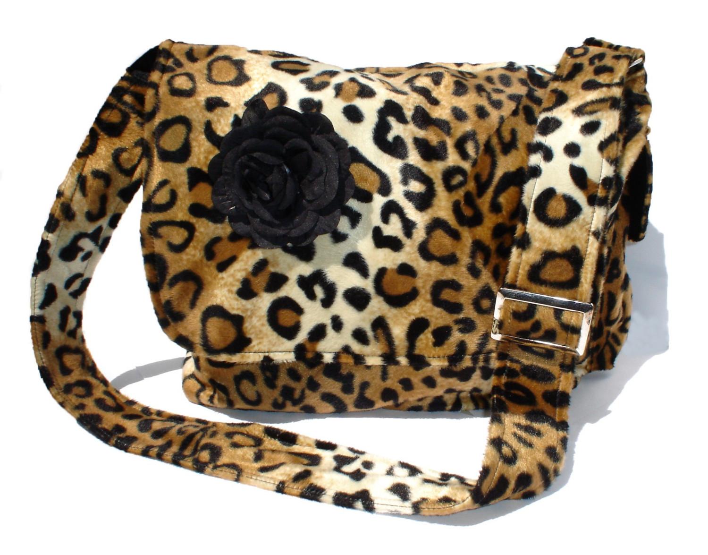2b4b80545c62 Rockabilly Bag   Purse Leopard faux w  Flower Large Diaper Bag  Messenger  bag