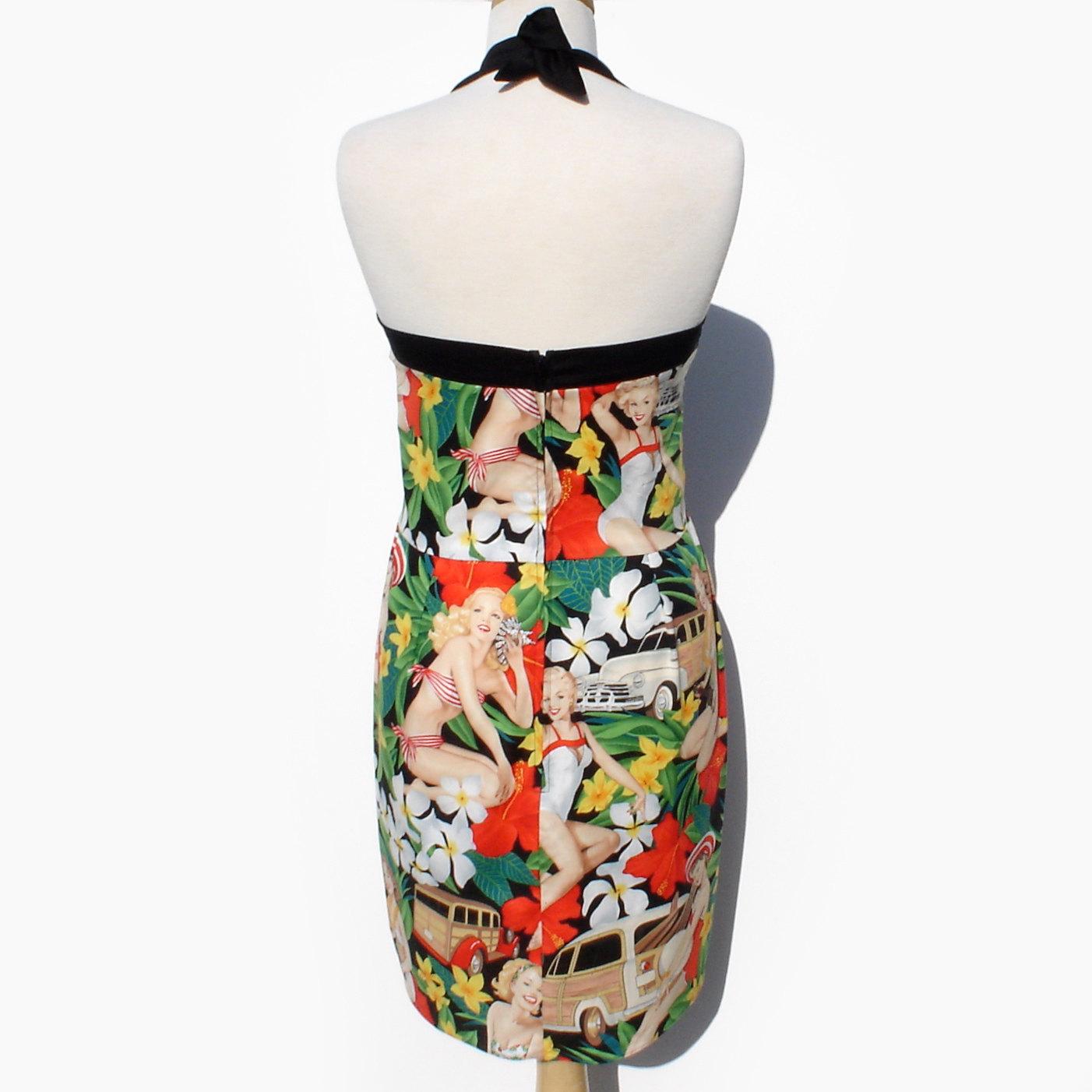 Rockabilly pinup Dress Hawaiian Flowers, Pin up Girls ...