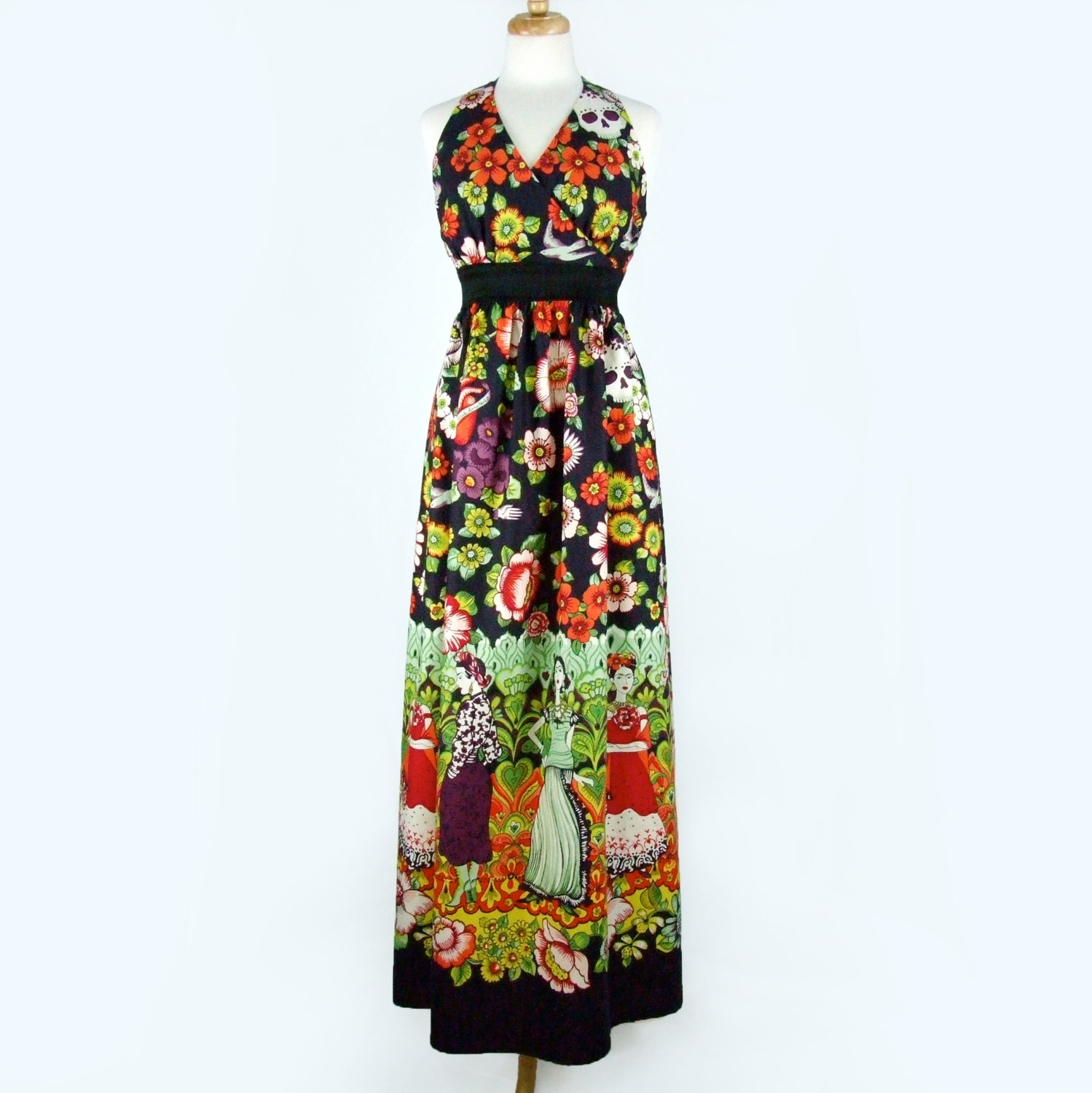 05afef5c5a6 Mexican Print Maxi Dress   Frida Kahlo Day of the Dead Long Dress ...