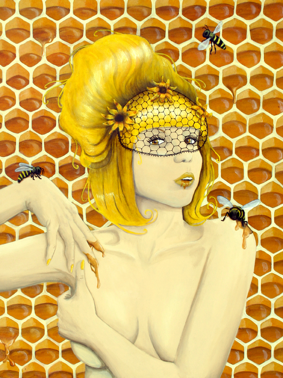 Popular Queen Bee - Fine Art Print 8x10 - Honey bees yellow flowers  EQ42