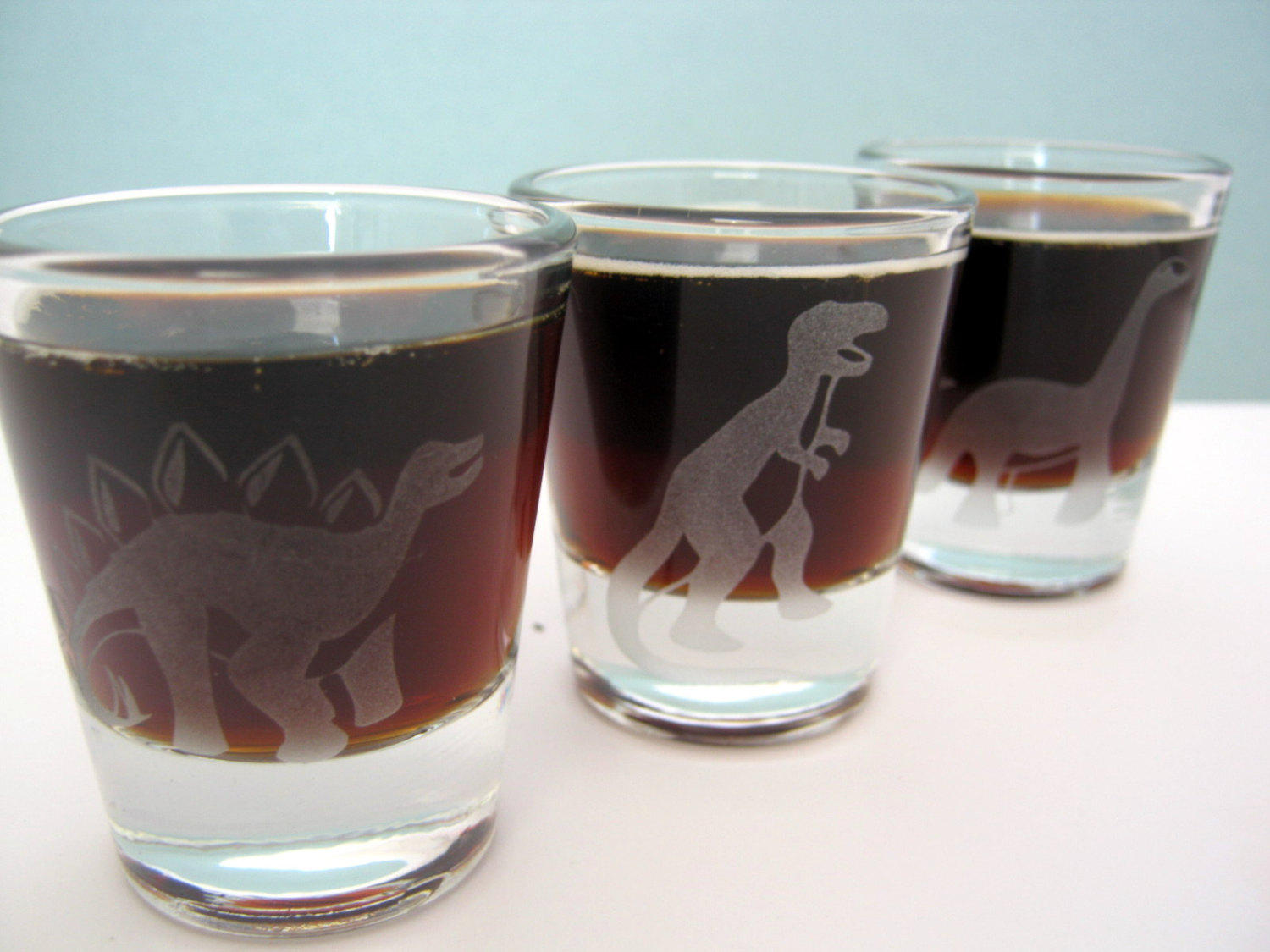 Stegosaurus Dinosaur Single Sandblast Etched Shot Glass On