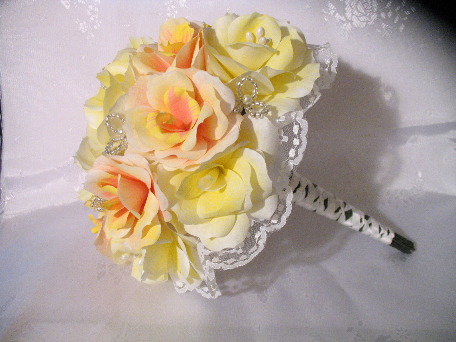 Free Shipping Handmade Yellow Coral And Pink Paper Flower Wedding
