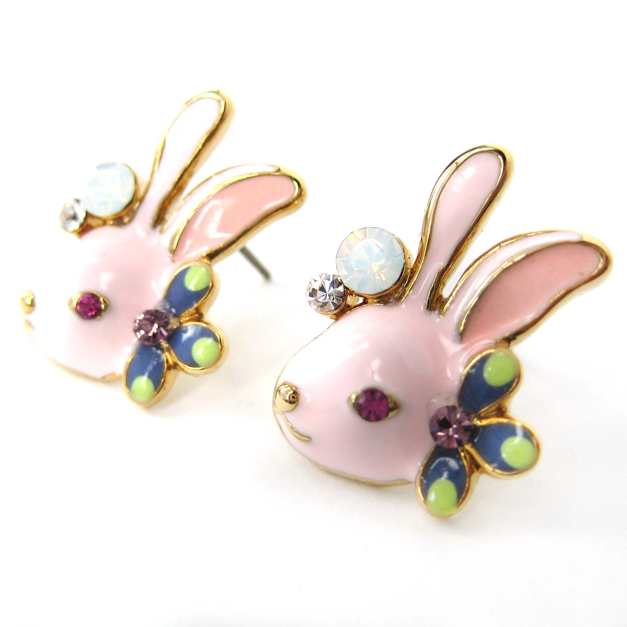 bunny earrings pink bunny rabbit animal stud earrings with flowers and 3342