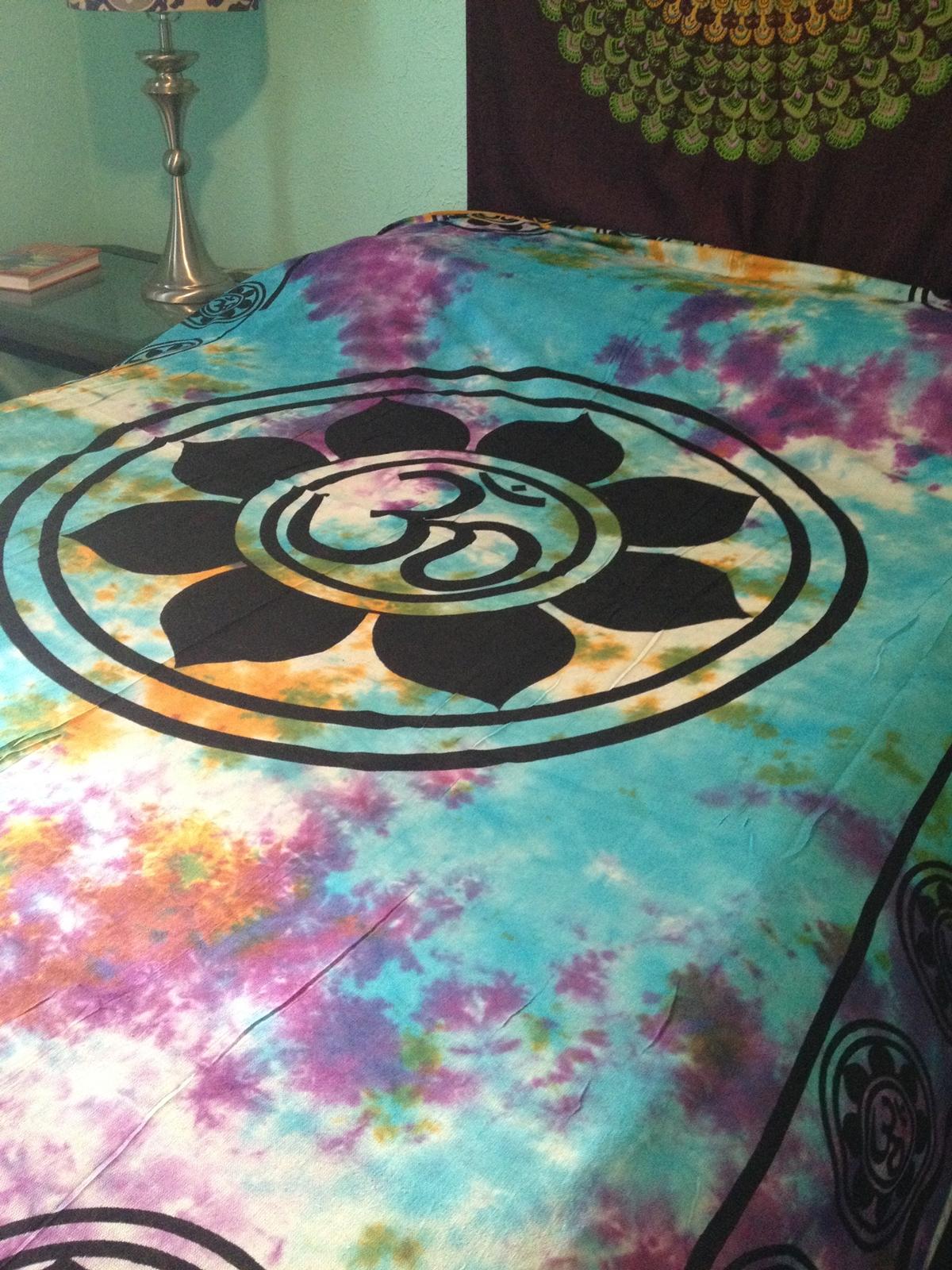 Om Aum Yoga Indian Lotus Flower India Hippie Boho Tie Dye