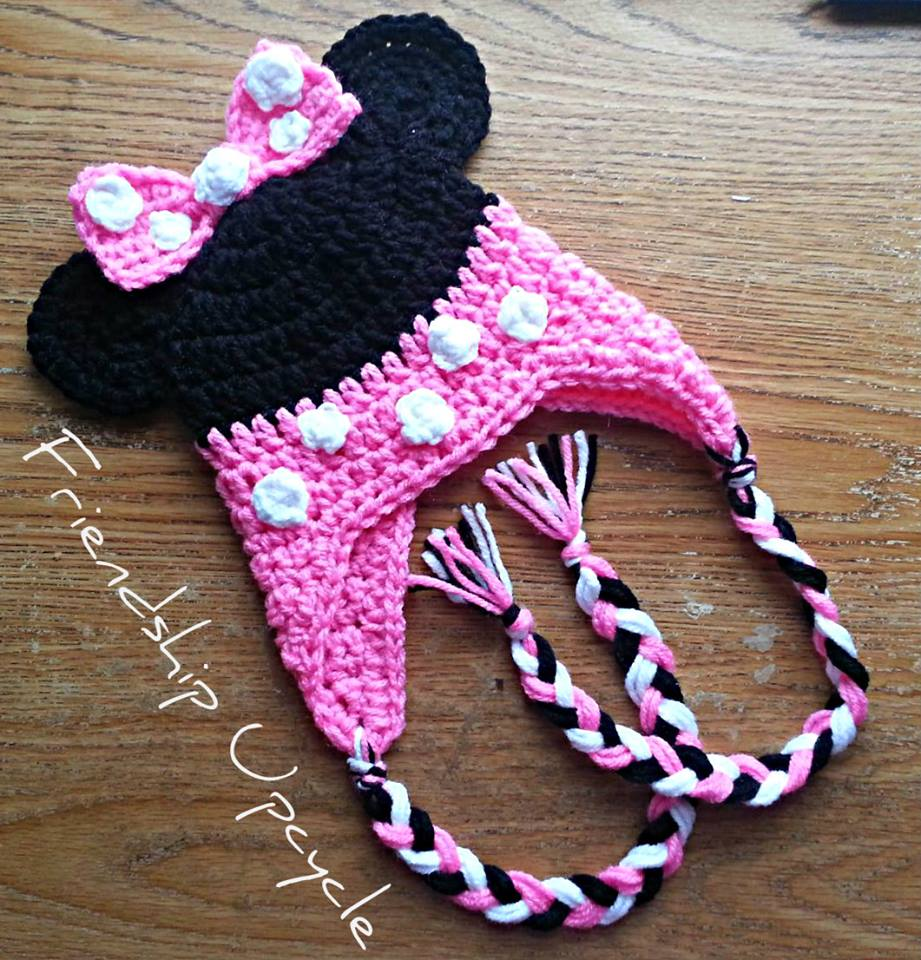 Crochet Minnie Mouse Child Hat With Ear Covers Choose Size Between