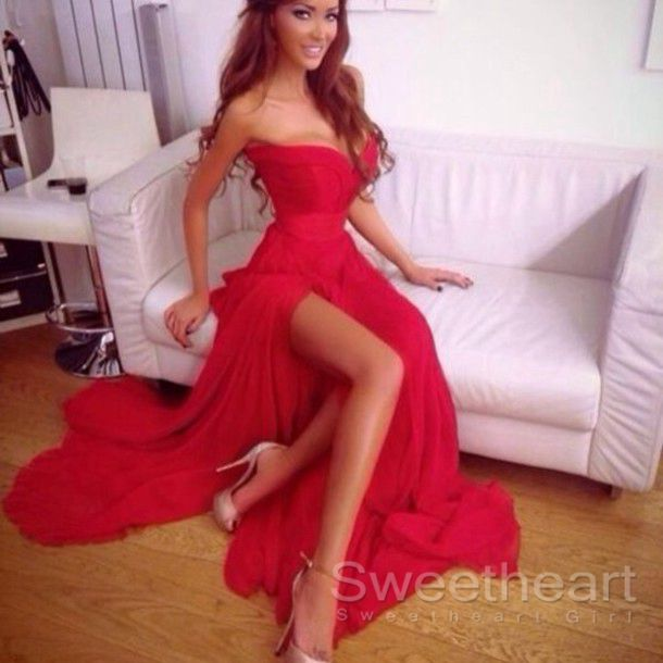 7d5a82042b93e Sweetheart Girl | Charming Sweetheart Long Red Chiffon Prom Dresses, Evening  Dresses | Online Store Powered by Storenvy