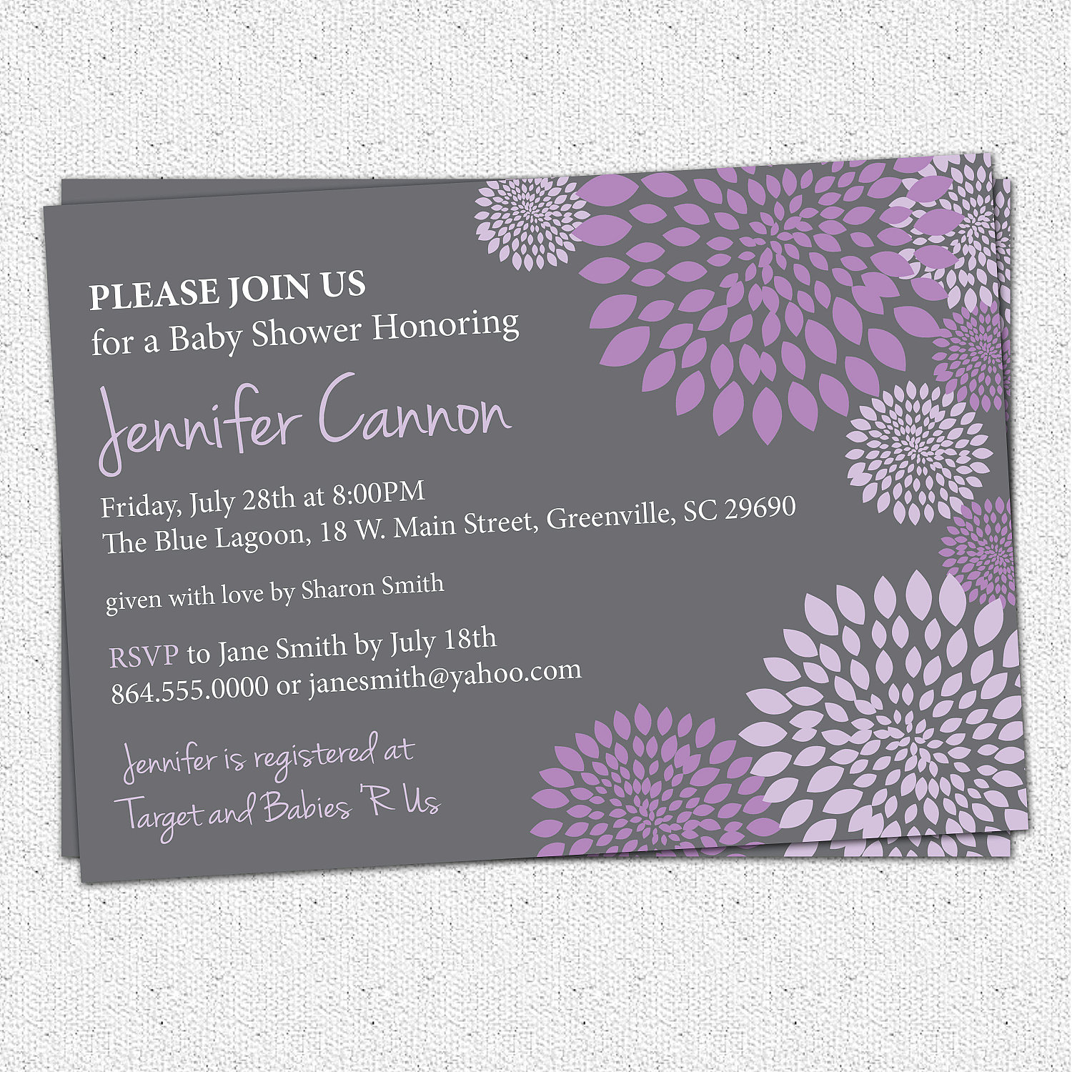 Baby Bridal Shower Invitations Girl Purple And Lavender Charcoal Grey Gray Floral Modern