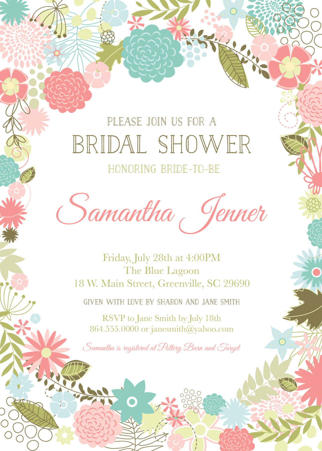 Retro Modern Flowers Bridal Baby Shower Invitations