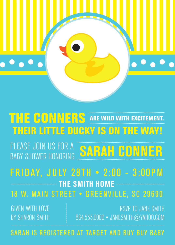 Little Rubber Ducky Baby Shower Invitations Duckie Modern Preppy