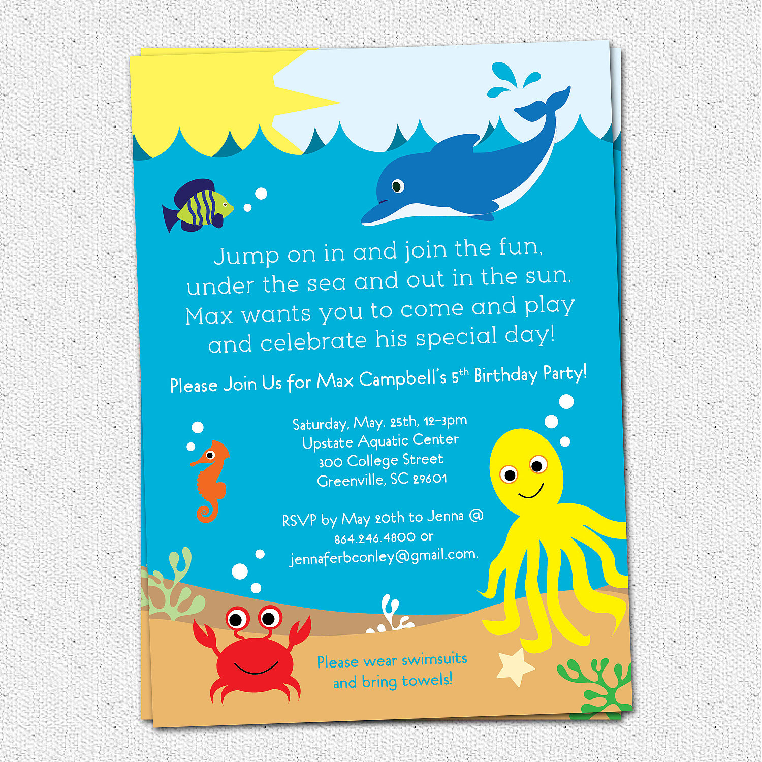 Under The Sea Birthday Party Invitations Boy Or Girl Sea