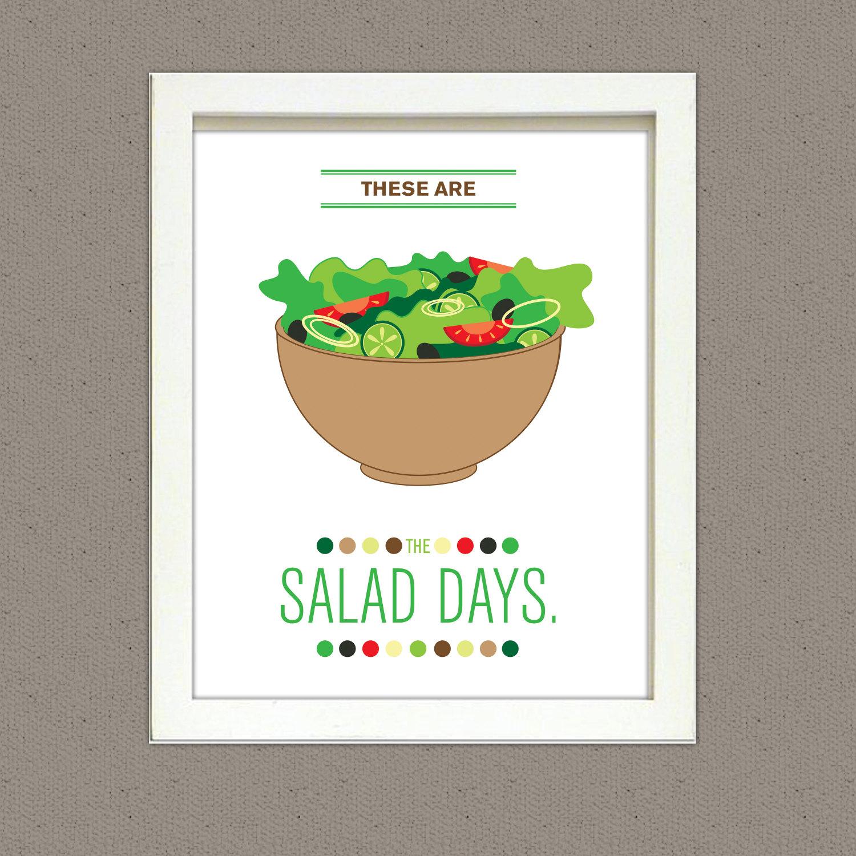 Kitchen Art Llc: These Are The Salad Days Kitchen Art Print 8x10 PRINTED