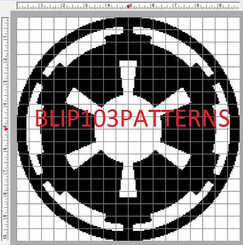 Star Wars Empire Imperial Symbol Cross Stitch Pattern On