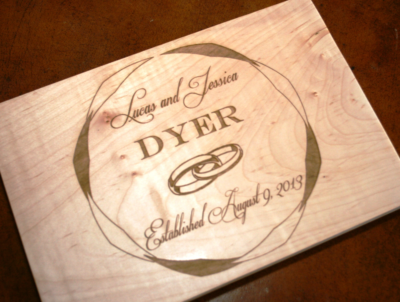 personalized cutting board laser engraved wedding or anniversary