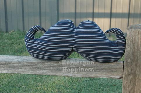 Mustache Pillow - Black & Blue Stripes