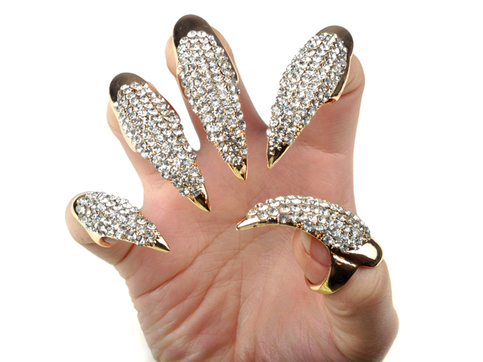 Rhinestone Claw Rings Gold On Storenvy