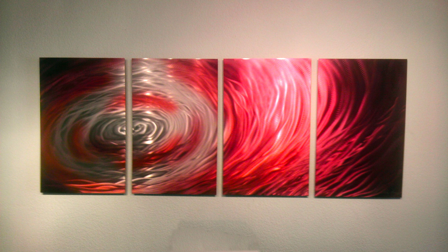Crimson Surge - Abstract Metal Wall Art Contemporary ...