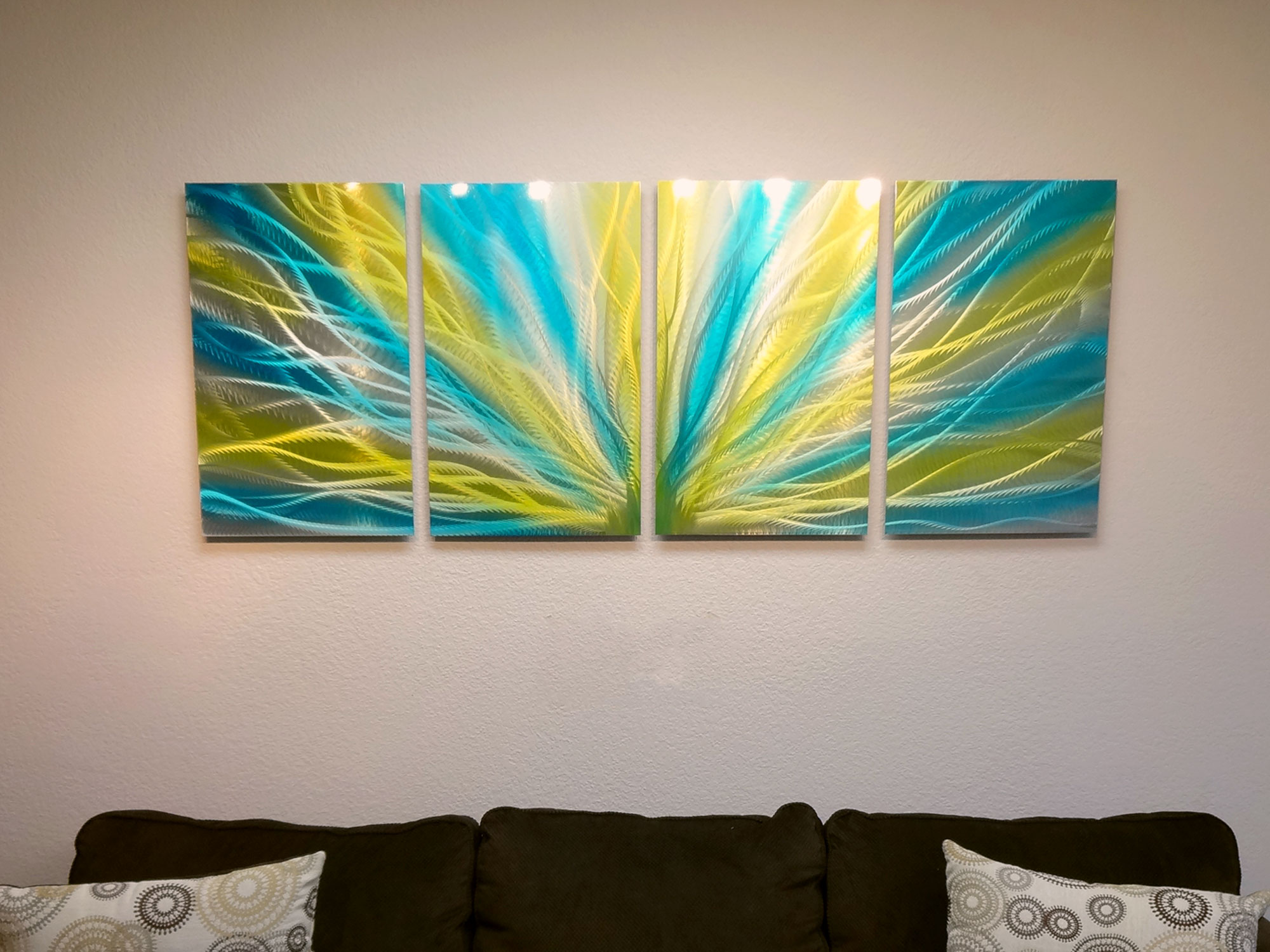 Radiance Blue Yellow- Metal Wall Art Abstract Contemporary