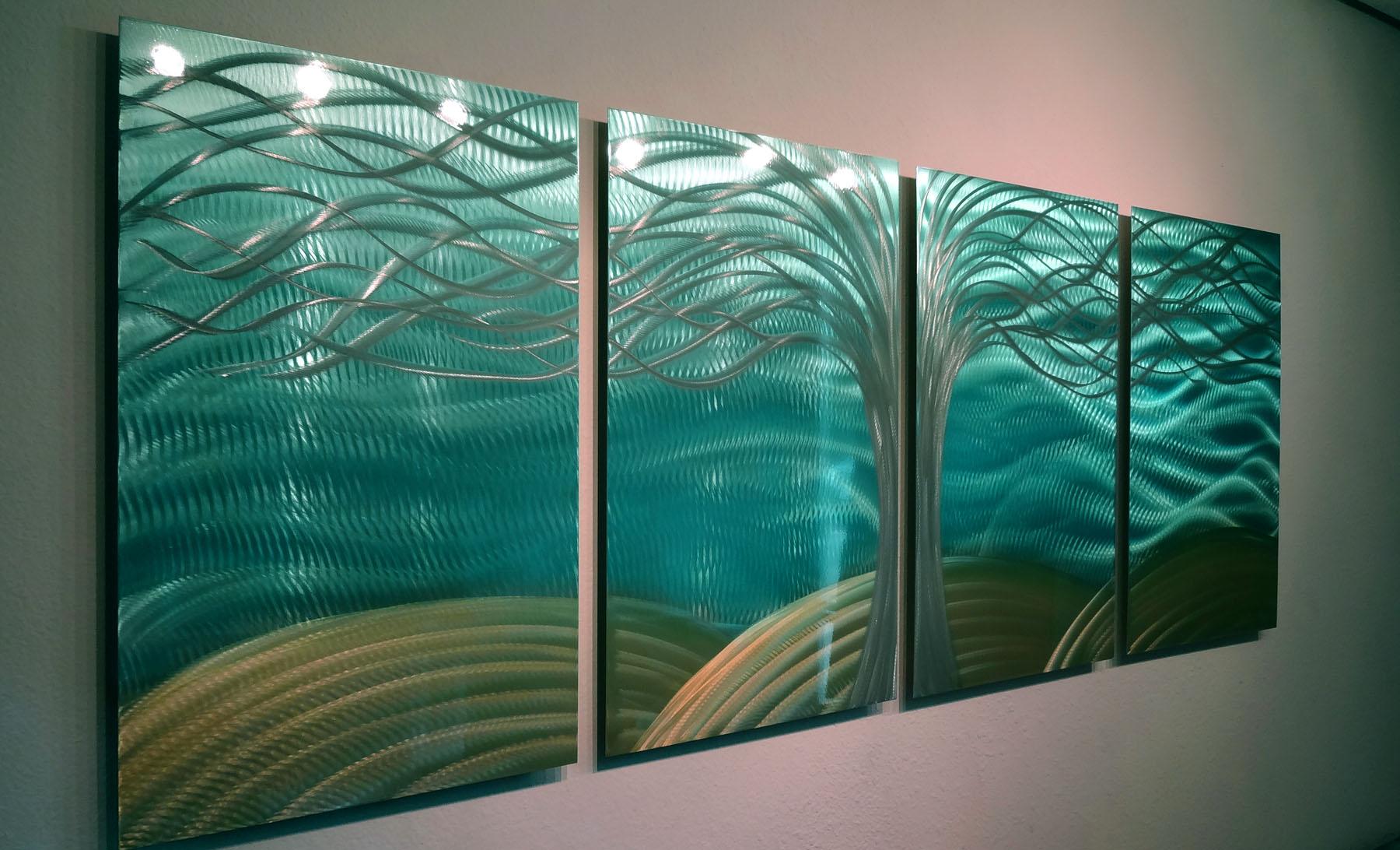 Metal Tree Wall Art Gallery: Tree Of Life Aqua Gold- Abstract Metal Wall Art