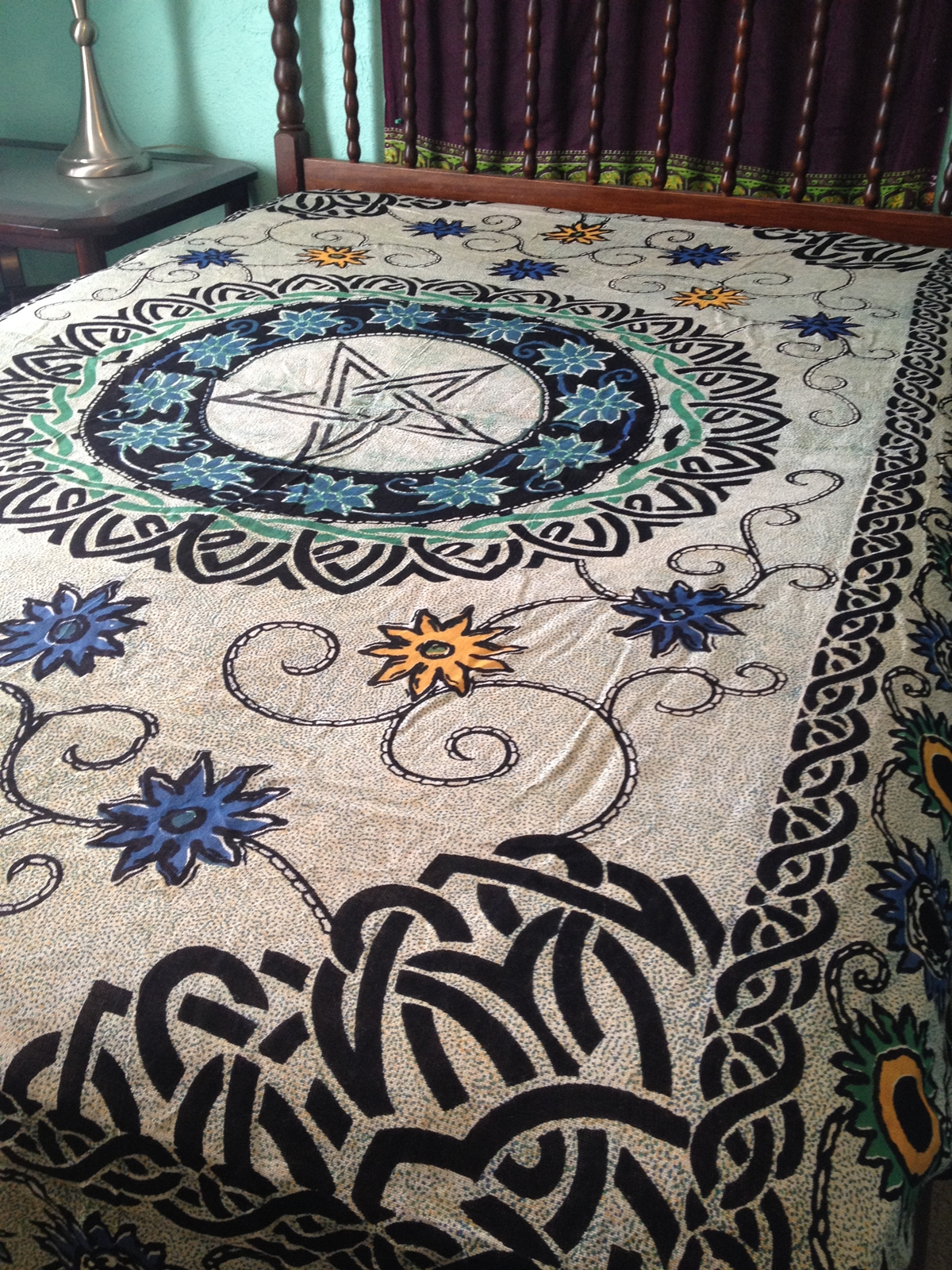 Pentacle Pentagram Floral Flowers Celtic Wicca Altar Cloth