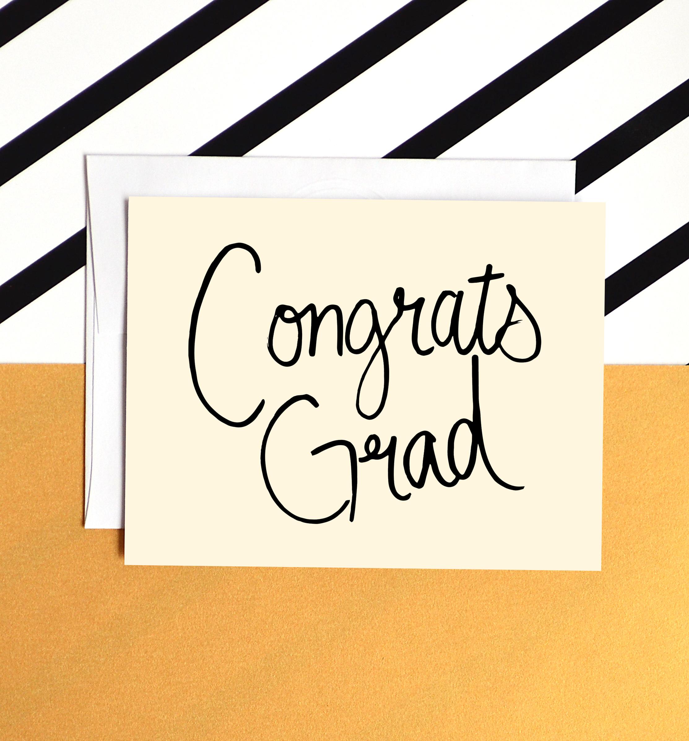 congrats grad card black and cream hand lettered graduation card