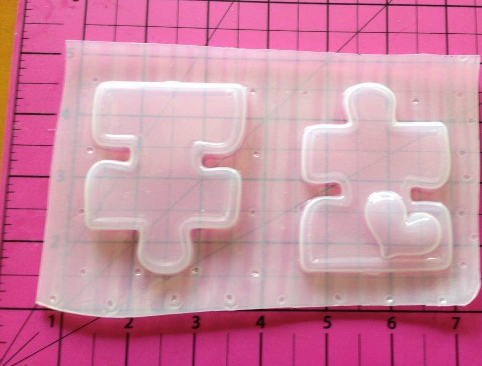 Image of 2 Autism Puzzle Pieces Plastic Resin Mold