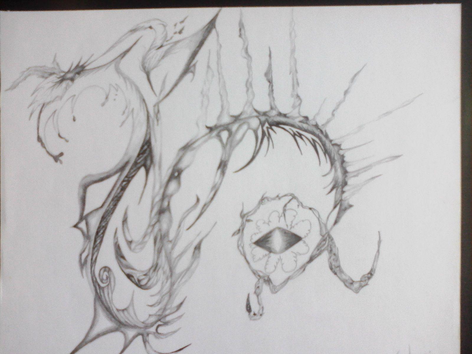 O o a k pencil graphite drawing eye of chaos