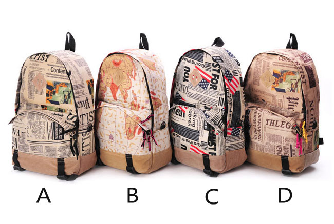 Retro World Map & Newspapers Pattern Canvas Backpack on Storenvy