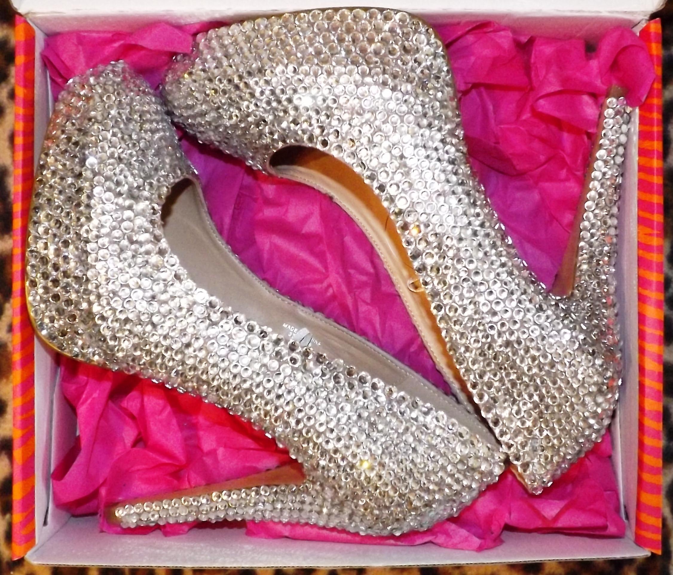 8115834f5e9 Silver Crystal Platform Pumps/Heels in Nude Crystal · Million Dollar ...