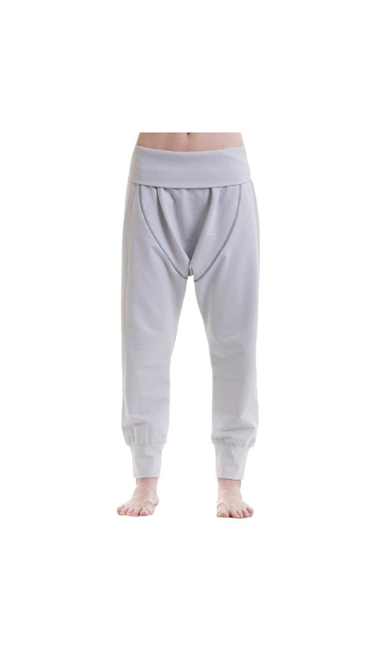 Dropped Crotch Yoga Cotton Pants -Gray Harem Yoga Pants - Loose White Cotton  Pants 12b615665d2
