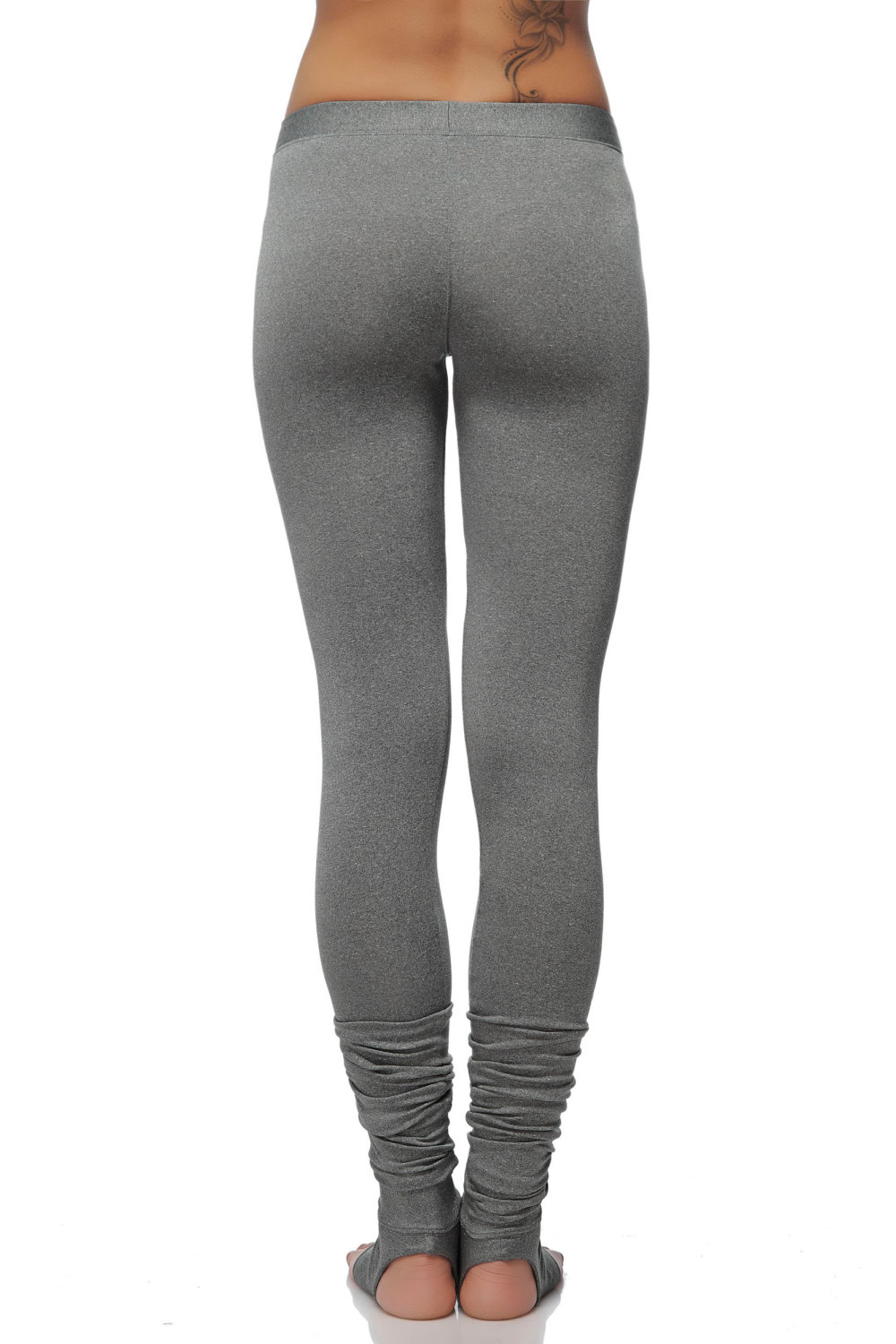 37cf1d0e2 ... Extra Long Gray Leggings - Special Dance and Yoga Leggings with Spats -  Soft Gray Women  ...