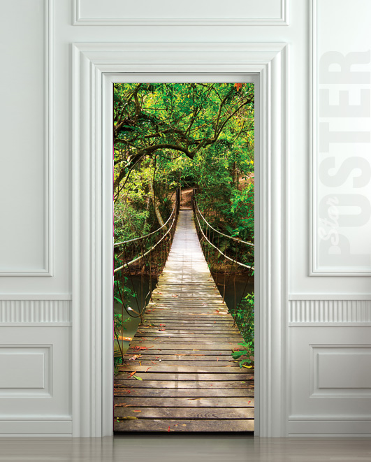 GIANT_Door_STICKER_rope_bridge_tropic_forest_decole_film_poster_30x7977x200cm