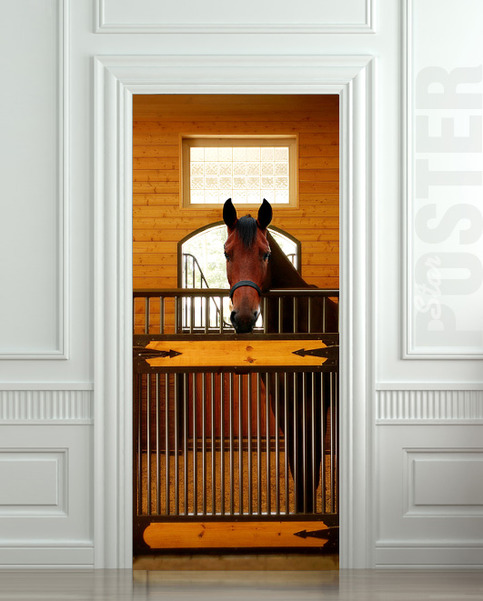 Giant Door Wall Sticker Decole Horse Stole Stable Country