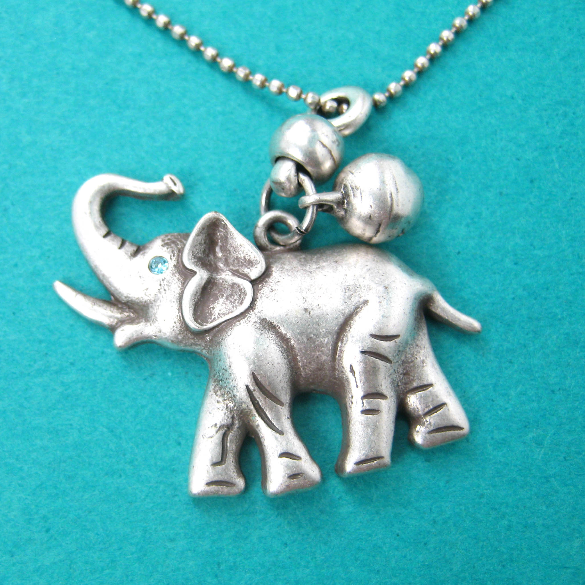 Cute Simple Elephant Animal Pendant Necklace In Silver