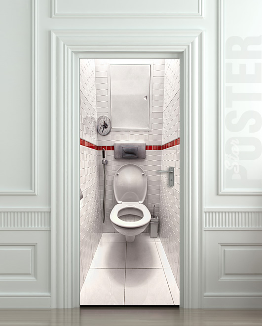 Wall Door Sticker Toilet Wc Bathroom Water Closet Mural