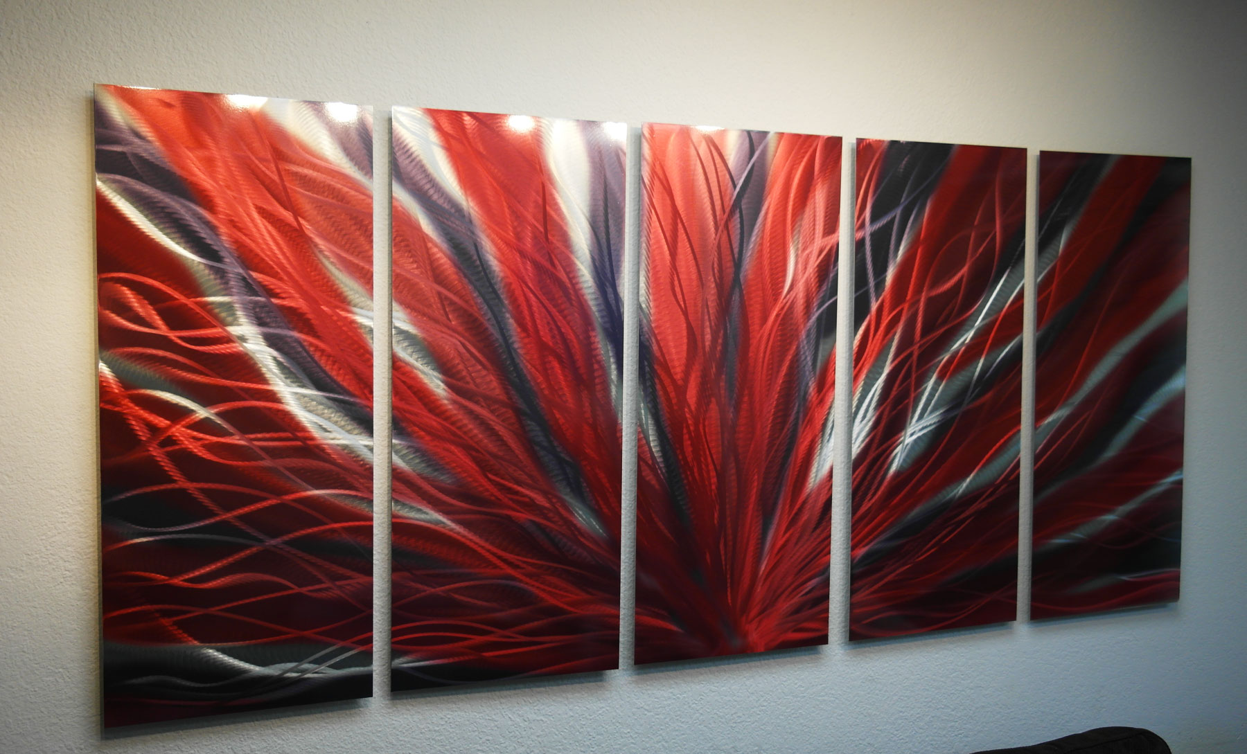 Red Metal Wall Decor: Large Radiance Red And Black- Metal Wall Art Abstract