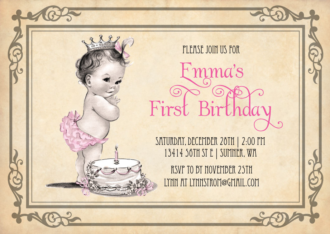 Princess Girl First Birthday Invitations - Vintage Cake and Princess ...