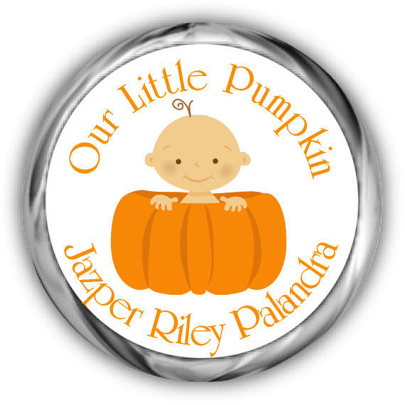 Little Pumpkin Baby Shower Hershey Kisses Stickers Personalized