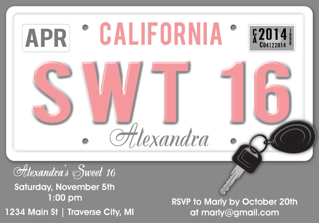 License plate sweet 16 birthday invitation unique sweet sixteen il fullxfull535640389 mg7l original filmwisefo